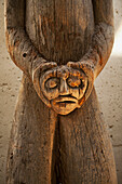 'Wood carving of coastal Indians at Museum of Anthropology; Vancouver, British Columbia, Canada'