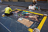 'A classic piece of art reproduced as street Chalk art; Florence, Italy'