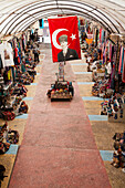 'The turkish flag hangs in a market; Goreme, Cappadocia, Turkey'