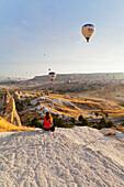 'Hot air balloons in flight; Goreme, Cappadocia, Turkey'