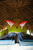 'Two single beds in a room; Ulpotha, Embogama, Sri Lanka'