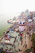 'High angle view of a crowd of pilgrims at the ghats on the ganges; Varanasi, India'