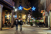 'Christmas lights in Carrer del Rec, El Born; Barcelona, Catalonia, Spain'