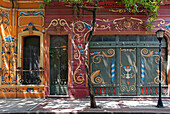 'House facade decorated with filete; Buenos Aires, Argentina'