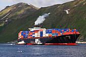 American President Lines container vessel, APL China in Unalaska Bay, Unalaska, Alaska.