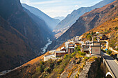 'Guesthouse and valley, Tiger Leaping Gorge; Lijiang, Yunnan Province, China'
