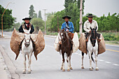 'Riding horseback in the road with bags on the sides; Catamarca Province, Argentina'