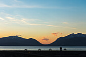 'Couple looking across Loch Linnhe from the Hollytree Hotel; Kentallen, Argyll, Scotland'