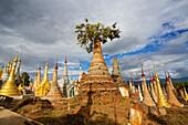 'Ruined pagodas on Ingle Lake; Bhutan'