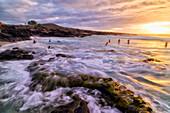 'Kua Bay beach at sunset, Kona Coast; Kona, Big Island, Hawaii, United States of America'