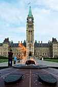 'Peace Tower and Centennial Flame on Parliament Hill; Ottawa, Ontario, Canada'