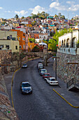 'Street scene with homes on the hillside; Guanajuato, Mexico'