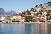 'Buildings along the shoreline of Lake Garda; Malcesine, Verona, Italy'