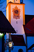 'Decorative design painted around a clock on a tower; Seefeld, Bavaria, Germany'