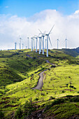 'Kaheawa Wind Power is one of the largest wind farms in Hawaii, located in Maui above Maalaea; Maui, Hawaii, United States of America'