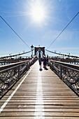Pedestrian walkway on the Brooklyn Bridge, New York City, New York, United States