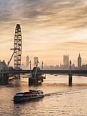 'Millenium Wheel with Big Ben; London, England'
