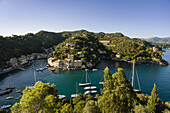 'View of the harbour and buildings along the coast; Portofino, Liguria, Italy'
