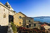 'Church and residential buildings along the coast of the Italian Riviera; Porto Venere, Liguria, Italy'