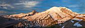 Alpenglow illuminates the NE face of Mount Ranier.