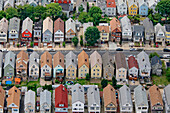 Aerial view of residential streets in New York suburb, New York, United States of America.