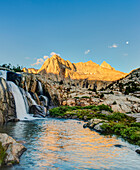 Picture Peak and Moonlight Falls with full moon