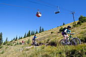 A family ride their bikes in Whitefish, Montana.