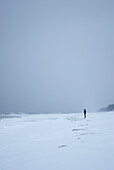 Lonely person standing on snow covered seashore.