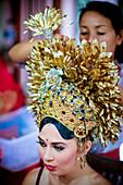 Tarditional Balinese woman head dress. Ubud, Denpasar, Bali, Indonesia