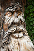 'Close up of a detailed tree trunk face carving; Lanserbach, Austria'