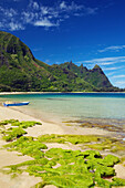 'Seaweed on the sand of Tunnels beach and a small boat at the water's edge; Kauai, Hawaii, United States of America'