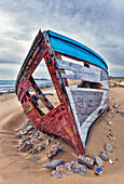 'Old fishing boat, Los Canos de Meca, Cape Trafalgar; Costa de la Luz, Cadiz, Andalusia, Spain'