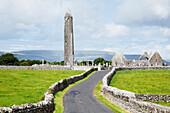 'Round tower at Kilmacduagh Monastery; County Galway, Ireland'