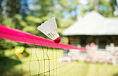 'Badminton shuttle cock flying over badminton net; Muskoka, Ontario, Canada'