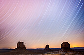 'Two-hour star trails capture with The Mittens at Monument Valley Navajo Tribal Park; Arizona, United States of America'
