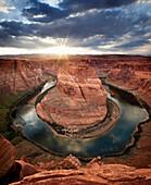 'Dramatic sunset at Horseshoe Bend; Page, Arizona, United States of America'