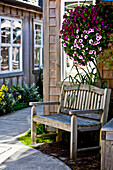 'A wood bench and hanging flower basket along a path outside retail shops; Cannon Beach, Oregon, United States of America'