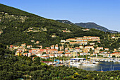 'City on a hillside and harbour; Le Grazie, Liguria, Italy'