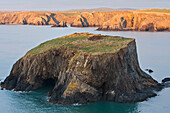 'Small island and cliffs at sundown near Trefin village on the Pembrokeshire Coast Path; Wales'