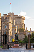 Windsor Castle and statue of Queen Victoria at sunrise, Windsor, Berkshire, England, United Kingdom, Europe
