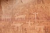 Bighorn sheep, human, and geometric petroglyphs, Gold Butte, Nevada, United States of America, North America