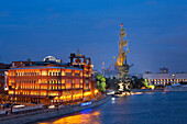 Peter The Great Statue and River Moskva at night, Moscow, Russia, Europe