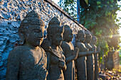 Late afternoon light on stone statues in the Pura Besakih temple complex, Bali, Indonesia, Southeast Asia, Asia