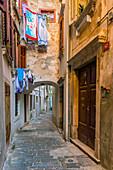 Alleyway, Old Town, Piran, Primorska, Slovenian Istria, Slovenia, Europe
