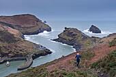 Runner on the coastal footpath at Boscastle, Cornwall, England, United Kingdom, Europe