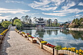 Moon Embracing Pavilion and Suocui Bridge at Black Dragon Pool, Lijiang, Yunnan, China, Asia