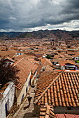 View over the rooftops of Cuzco from San Blas neighbourhood, UNESCO World Heritage Site, Peru, South America