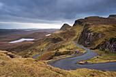Winding road leading through mountains, Quiraing, Isle of Skye, Inner Hebrides, Scotland, United Kingdom, Europe