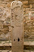 Structure 21, Stela 35, stone carving of Lady Ik Skull, Mayan Archaeological Site, Yaxchilan, Chiapas, Mexico, North America