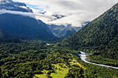Aerial of the outflow of Fox Glacier, Westland Tai Poutini National Park, South Island, New Zealand, Pacific